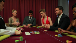 Dealer dealing poker cards and bets are being plac Footage