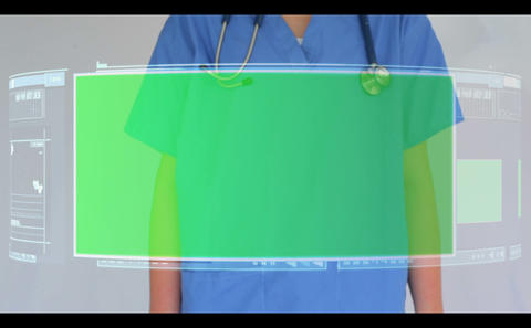 Doctor Scrolling Though Interactive Menu With Copy stock footage