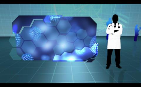 Virus affecting cells on blue medical background Animation