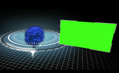 Rotating brain in a circle with appearing copy spa Animation