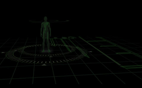 Interface with revolving human body showing variou Stock Video Footage