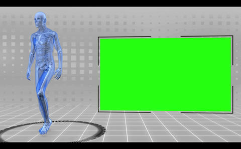 Revolving walking and running human figure with chroma keys Animation