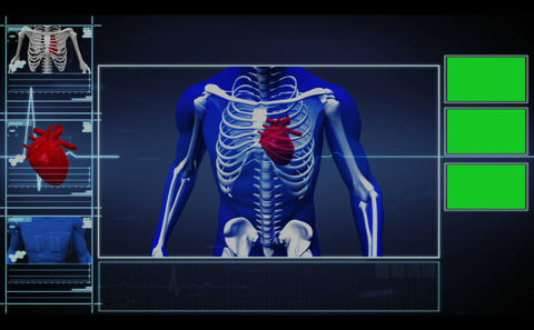 Menu interface of running skeleton with highlighte Stock Video Footage
