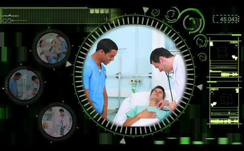 Hand selecting videos of doctors in the hospital Stock Video Footage