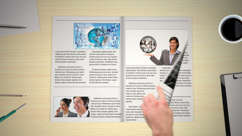 Hand turning pages of world news business magazine Animation