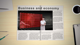 Hand turning pages of world news business magazine Stock Video Footage
