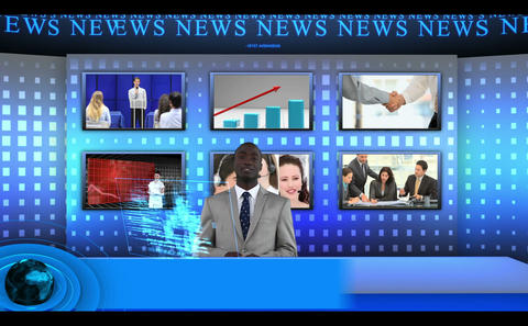 Man presenting business news with presentation and statisitcs Animation