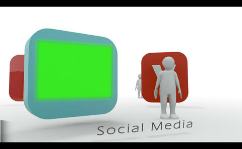 Stick figure presenting social media symbols Animation