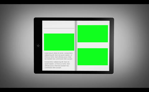 Digital bookshelf on tablet Animation