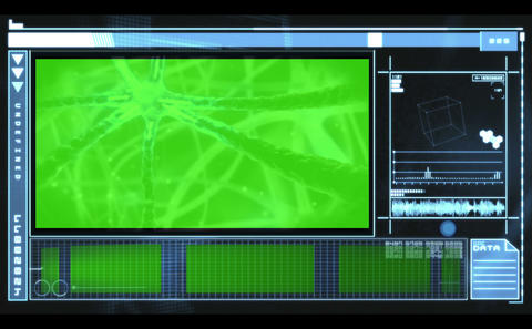 Hand scrolling through medical interface showing neurons and copyspace Animation
