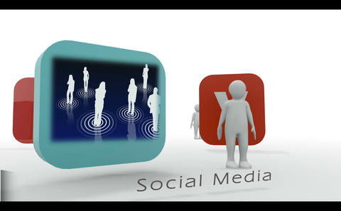Stick figure showing social media symbols Animation