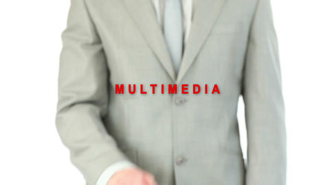 Man pressing holographic multimedia button Stock Video Footage