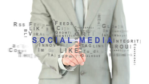 Businessman touching social media button Animation
