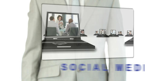 Businessman touching social media button Stock Video Footage