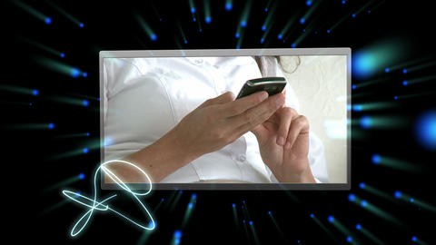 Montage of people using vairous media devices Animation
