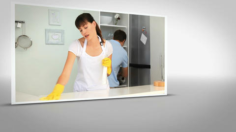 Clip of woman cleaning kitchen Stock Video Footage