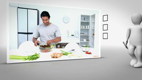 Clip of man happily preparing salad Animation