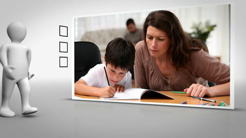 Clip of mother and child doing homework together Animation