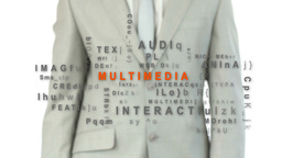 Businessman touching the word multimedia Animation