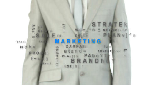 Business man touching the marketing buttong Animation