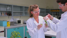 Two students testing the plant Footage