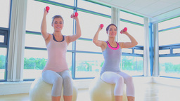 Video of women doing exercise ball and dumbells Footage