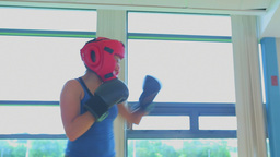 Video of brunette woman kickboxing Footage