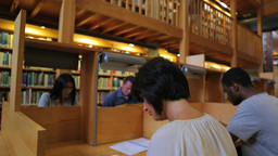 People studying in the library Footage