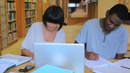 People working on assignments in the library Footage