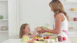 Video of daughter giving salads to mother Stock Video Footage