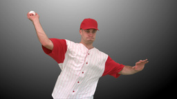 Brunette man throwing a baseball Stock Video Footage