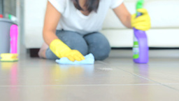 Woman cleaning the floor Footage