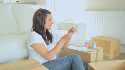 Woman Looking At Samples Of Colors stock footage