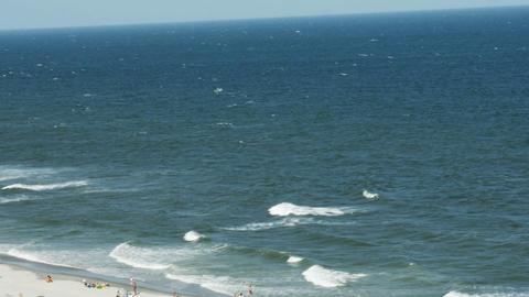 1849 Beach with Ocean Waves Crashing Wide, HD Footage