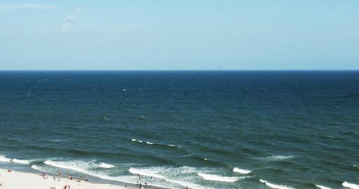 1850 People Enjoying the Beach with Ocean Waves, 4 Footage