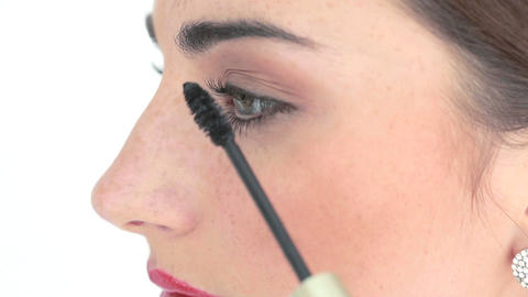 makeup artist applying mascara Footage
