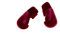 Boxing gloves falling on the floor Live Action