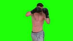 Man boxing in the air on green background Footage