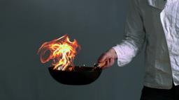 Flaming wok Footage