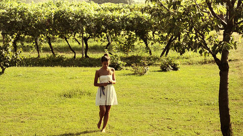 Girl Walking In A Vineyard stock footage