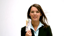 Businesswoman fanning cash Footage