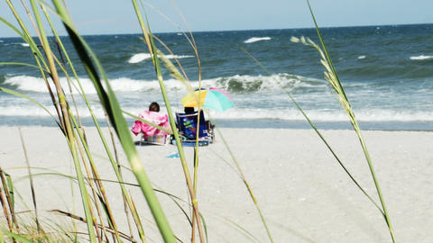 1853 People Enjoying the Beach with Ocean Waves, H Footage