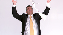 Happy businessman launching papers Footage