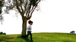 Little child running around a tree Stock Video Footage