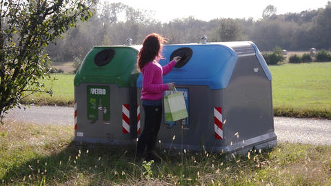 Girl Recycling stock footage