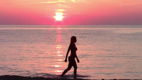 Tourist And Wonderful Sunset, Seascape stock footage