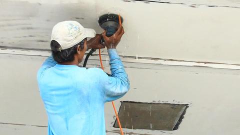Boat maintenance Stock Video Footage