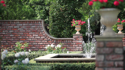 English garden with a fountain Stock Video Footage