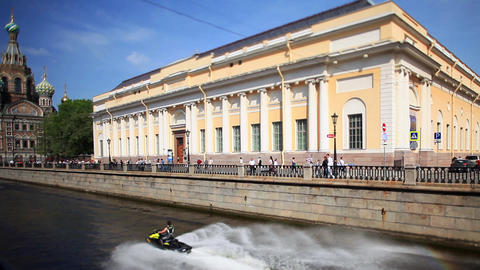 jet skis on the canals of St. Petersburg Footage