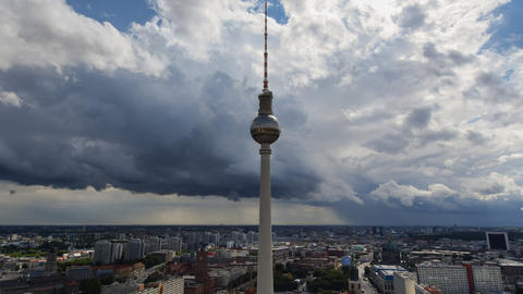 berlin thunderstorm approaching tv tower 11455 Footage